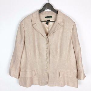 Lauren Ralph Lauren Pink Tweed Linen Jacket 20W